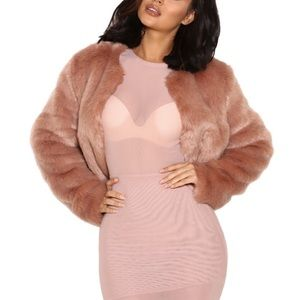 House Of CB - New - Blush Faux Fur Jacket 'Emilia'